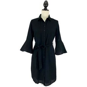 Banana Republic Black Bell Sleeve Button Up Dress